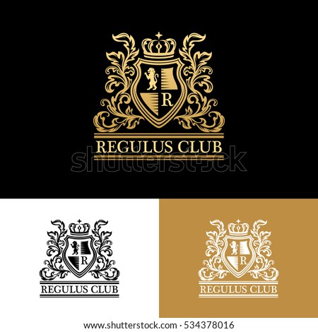 Heraldic logo template. Vintage ornamental emblem with lion, monogram, crown symbols and flourish decorations. Three color variants.
