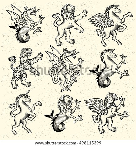 heraldic monsters vector