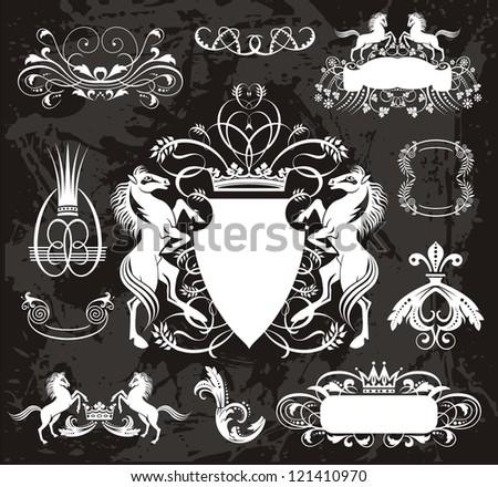 heraldic set with horses