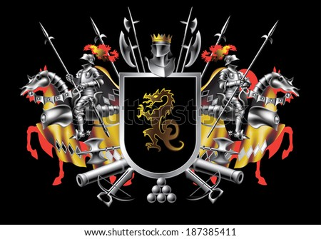 heraldic shield with two riders