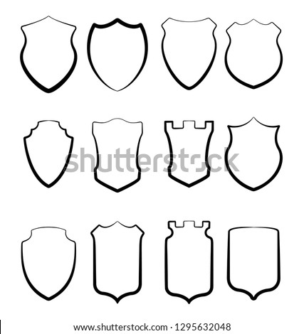 Heraldic shields collection. Crests silhouettes for signs, logos, emblems and symbols  of safety, security, military or  other heraldy.