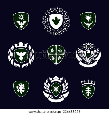 heraldic signs, heraldic elements, heraldry, insignia, signs, vector set