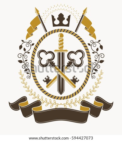 heraldic signs vector vintage