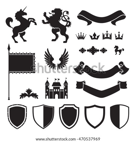 Heraldic silhouettes for signs and symbols (safety, security, military, medieval). Based on and inspired by old heraldry.