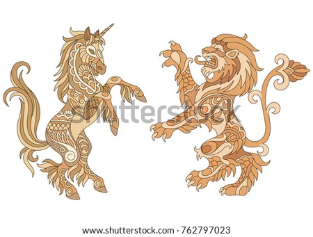 Heraldic unicorn and lion silhouettes in gold colors. Heraldry logo design elements. Luxury coat of arms concept. Suitable for adult coloring book page in zentangle style.