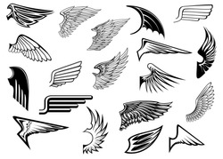 Heraldic vintage birds and angel wings set for tattoo, heraldry or religion design