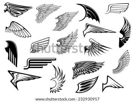 Heraldic vintage birds and angel wings set for tattoo, heraldry or religion design stock photo