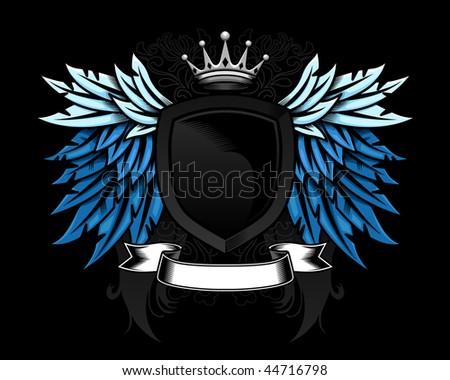Wings Shield Scrolls Heraldic Wing And Shield