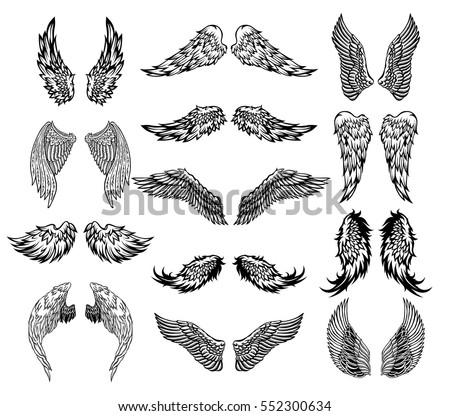 heraldic wings set for tattoo