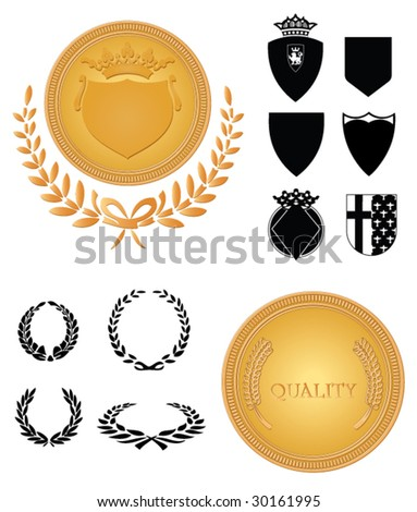 heraldry design set with medals - stock vector