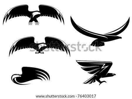 Heraldry eagle symbols and tattoo isolated on white. Jpeg version also available in gallery