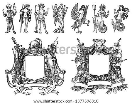 Heraldry in vintage style. Engraved coat of arms with animals, birds, mythical creatures, fish, dragon, unicorn, lion. Medieval Emblems and the logo of the fantasy kingdom.