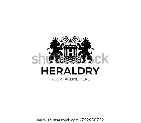 Heraldry Logo Template. ?rest Vector Design. Lion Elegant Illustration
