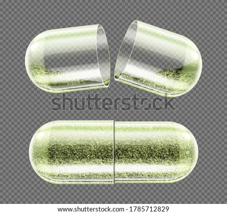 Herb capsule, nutritional supplement, powder pills close and open. Herbal medicine, pharmaceutical natural remedy, organic drug isolated on transparent background. Realistic 3d vector illustration Foto stock ©
