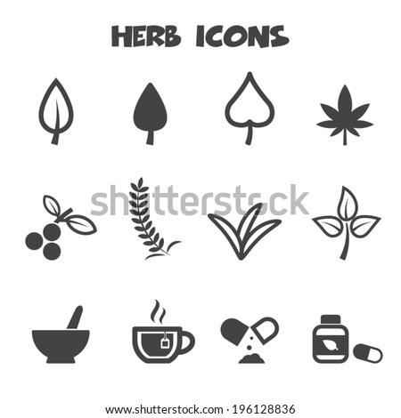 herb icons mono vector symbols