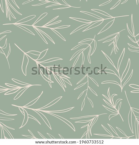 Herb leaves random placed seamless pattern. Vector branches on sage green background all over print. Foto stock ©