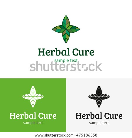 Herbal Cure Medical Logo design template. Vector green leaf pharmacy logotype, sign and symbol