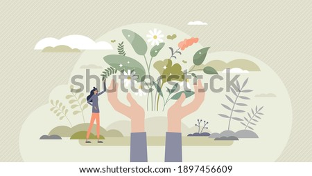 Herbal medicine as alternative homeopathy for healthcare tiny person concept. Nature plant and flowers healing power and usage in health treatment, organic cure and aromatherapy vector illustration.