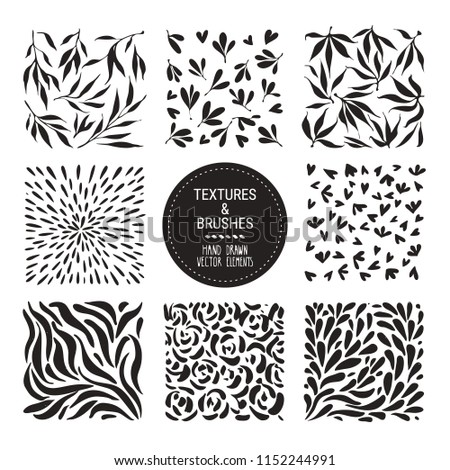 Herbal pattern, plant ornamentation. Botanical vector textures for organic branding, fashion textile and floral prints. Hand drawn flower petals, stems, leaves backdrops. Isolated on white background.