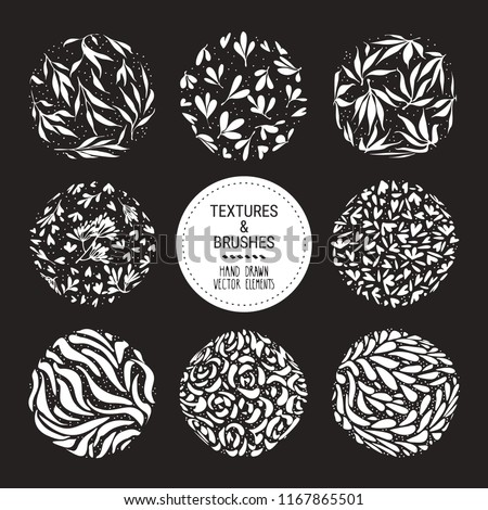 Herbal round pattern, floral ornamentation set. Botanical garden vector textures for logo, organic branding, fashion textile, floral print. Hand drawn plants, flowers, leaves isolated illustration.