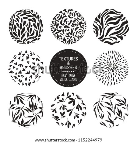 Herbal round pattern, plant ornamentation. Botanical garden vector textures for logo, organic branding, fashion textile and floral prints. Hand drawn flowers, stems, leaves backdrops isolated on white