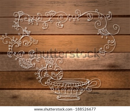Herbal tea hand drawn illustration over wood background, VECTOR