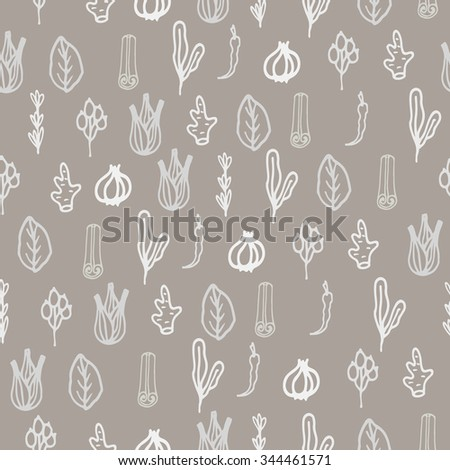 Herbs and spices doodle hand drawn seamless pattern. Repeat white on brown taupe background. #344461571
