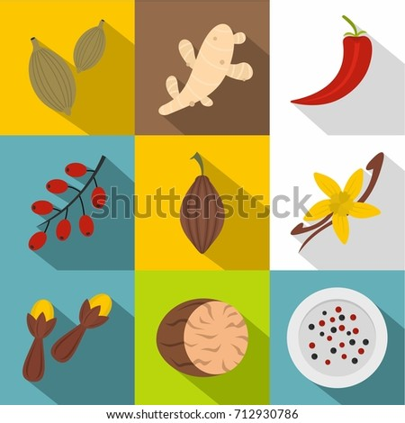 Herbs and spices icon set. Flat style set of 9 herbs and spices vector icons for web design