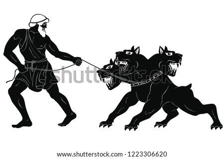Hercules abducts Cerberus from Hell. Figure isolated on white background.