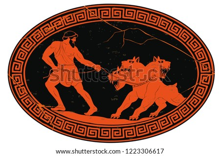 Hercules abducts Cerberus from Hell. Oval medallion isolated on a white background.