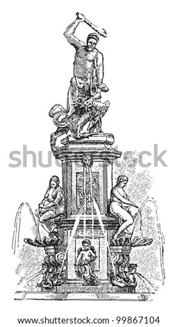 Hercules fountain in Augsburg (Germany) / vintage illustration from Meyers Konversations-Lexikon 1897