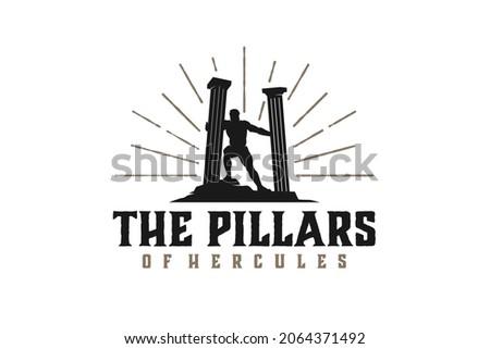 Hercules Heracles with pillar pillars, Muscular Myth Greek Archer Warrior Silhouette Logo design the Pillars of Hercules