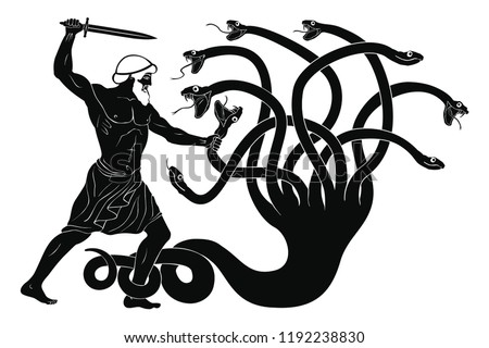 Hercules kills the Lyrna Hydra. 12 exploits of Hercules. Figure isolated on white background. Foto stock ©
