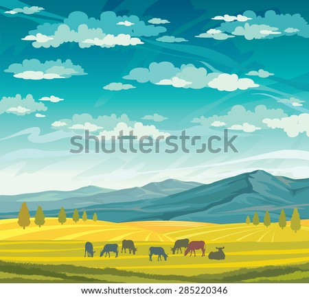 Herd of cows in green meadow on a blue cloudy sky. Vector of rural summer landscape.