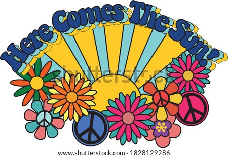 Here Comes the Sun Slogan with Colorful Abstract Background - Floral Pattern - 70's Themed Hippie Style Hamd Drawn Vector - Groovy Vibes Photo stock ©