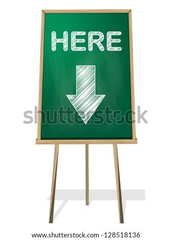 here green black board