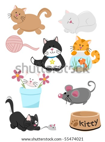 Here kitty kitty! Nine purrfect graphics included in this playful cat themed set.  Watch kitty play, sleep and get into mischief