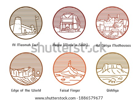 Heritage and Natural Landmarks of Saudi Arabia done in Line art style concept. Editable Clip Art.