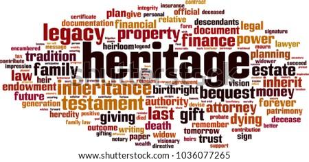 Heritage word cloud concept. Vector illustration