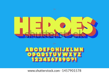 Hero alphabet 3d bold style trendy typography for poster, event, decoration, motion, video, game, t shirt, book, banner, printing. Cool typeface. Modern typeface. Vector 10 eps