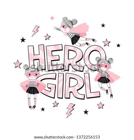 hero girl typhographic print