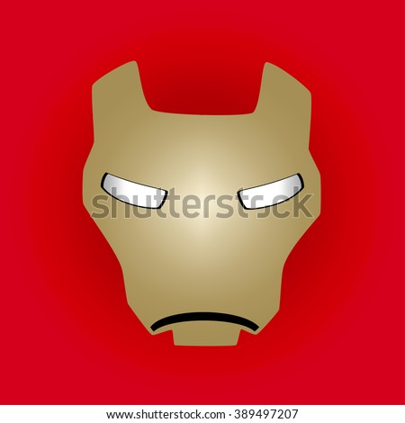 Hero mask on a red background, vector illustration. Iron hero