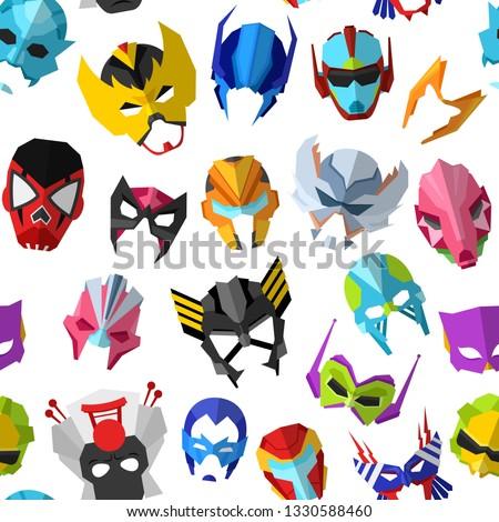 Hero mask vector superhero masque and masking face cartoon character illustration set of powerful masked symbol isolated on background