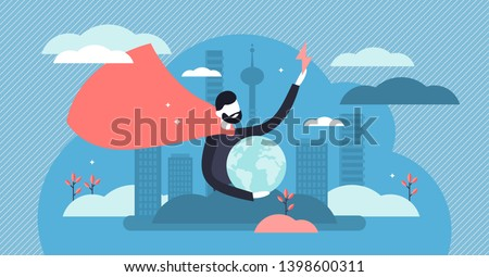 Hero vector illustration. Flat tiny strong rescue defender persons concept. Abstract earth security with ideal leadership and supernatural protection. Confidence and powerful strength character symbol Foto d'archivio ©