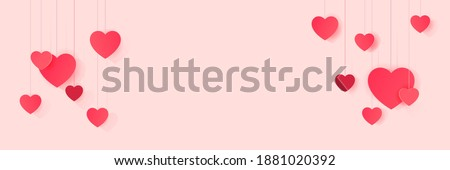 Hero web banner with decoration of hanging paper hearts Foto stock ©