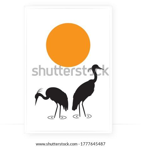 heron birds silhouettes on