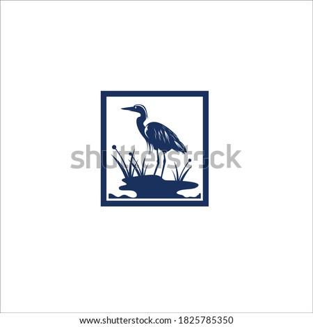 heron egret bird silhouette vector logo icon