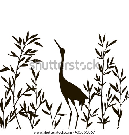 heron in thicket of branches