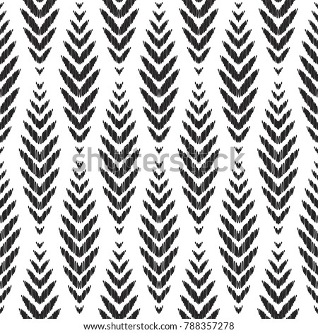 Herringbone seamless pattern for home decor ideas. Fashion ikat chevron wallpaper. Pillow textile decoration. Tribal vector background. Black and white graphic design.