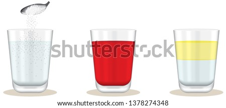 Heterogeneous and homogeneous mixtures. Glasses of salty water, sherbet and olive oil. Foto stock ©